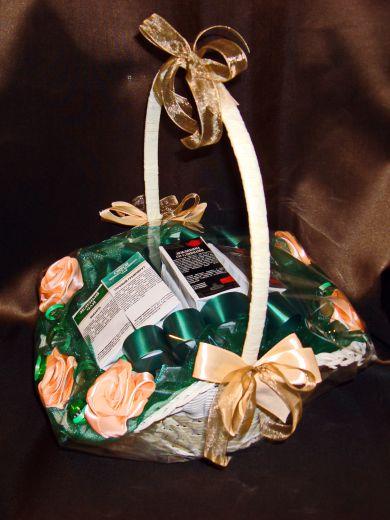 """Чайная корзинка """"Цветы"""" - подарочный набор №66"""