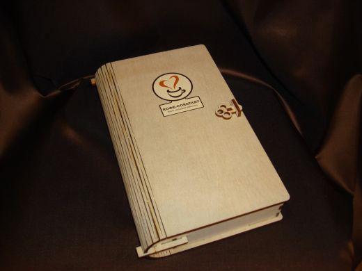 Шкатулка кофейная деревянная книга - подарочный набор с кофе