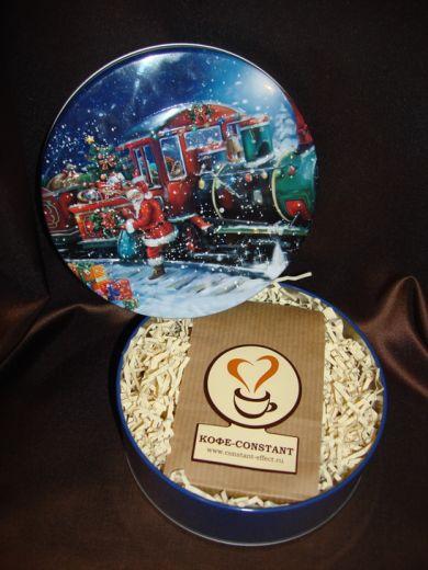 Дед мороз и паровоз (жестяная упаковка) - новогодний подарочный набор с кофе